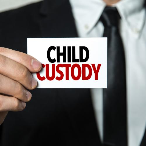Man holding sign that says child custody